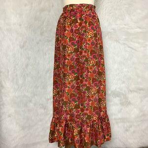 Vintage 50s 60s Pink Orange Floral Ruffle Skirt